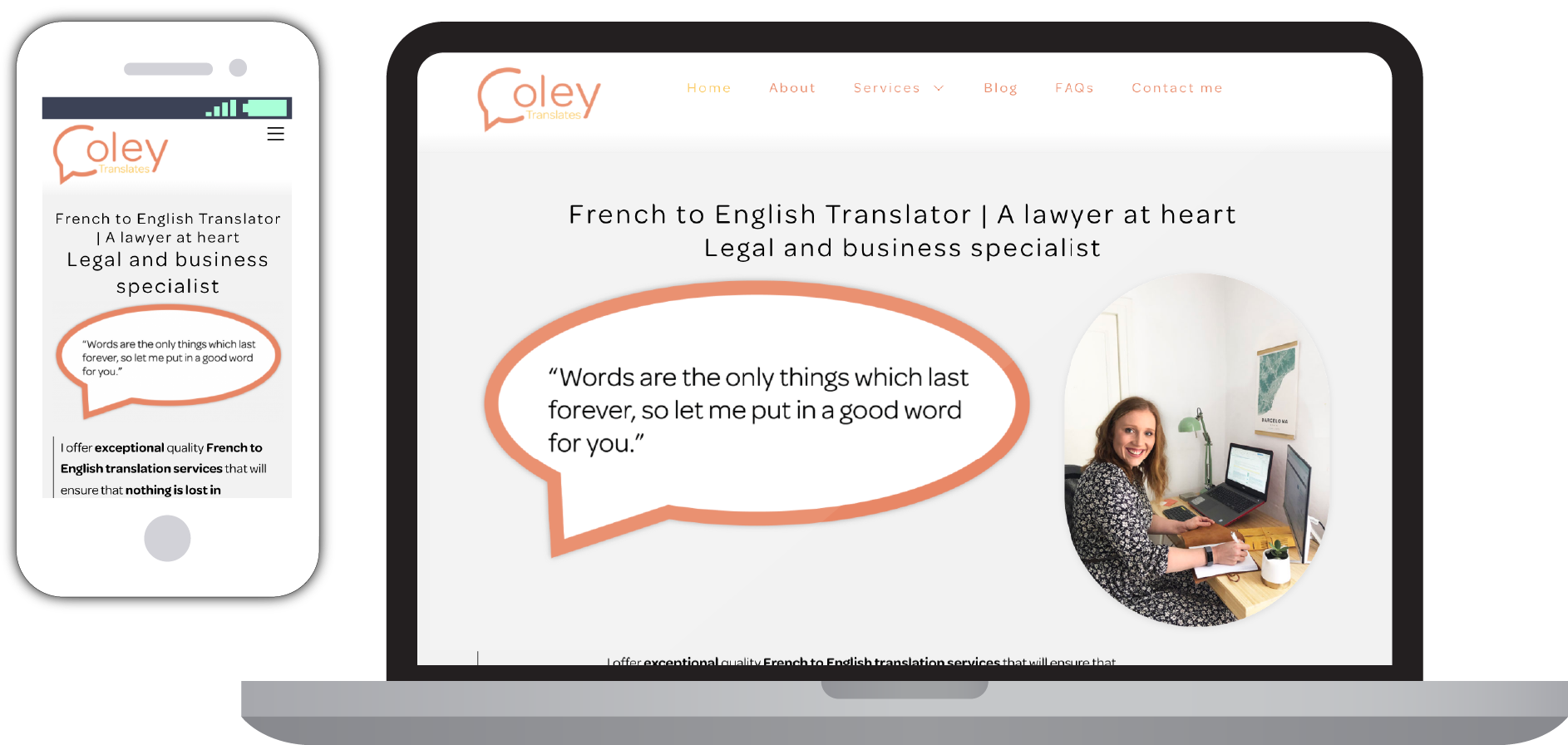 coley translates website on different media screens